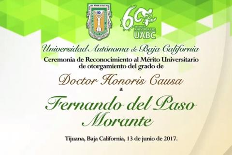 Ceremonia de reconocimiento de Doctor Honoris Causa a Fernando del Paso Morante